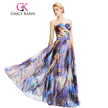 Rainbow Prom Dress 2017 Fashion Grace Karin Brand Women Elegant Long Prom Dresses Chiffon Galajurken Beading Ombre Evening Dress(China)