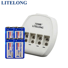 4 pieces/LITELONG Li-lon 880 mah 9 v battery rated voltage 9V+ 1 smart 4 slot charger