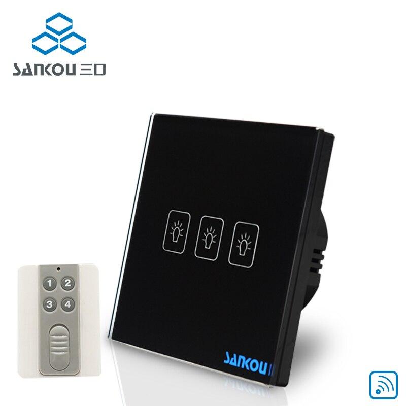 Cnskou EU Standard 3G1W 220V Wall Light Wireless remote control Touch Switch Black Crystal Glass Panel Touch Sensor Switch<br>