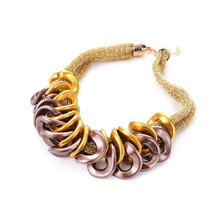 EVERYSHINE Hand made Metal ring neckalce brand Europe magazine necklace women fashion  evening patry jewelry accessories jq672