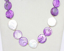 "11.25 18""  coin white pearls lavender seashell necklace can choose"
