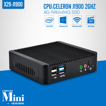Fanless Mini PC celeron J1900 Quad Core 8G RAM+64G SSD+Wireless 150M or 300M Car PC Power Supply 12V/5A Thin Client Windows 7