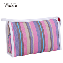 fashion rainbow striped women makeup clutch bag Multifunction tools Cosmetic organizer cheap price casual Cosmetic collector