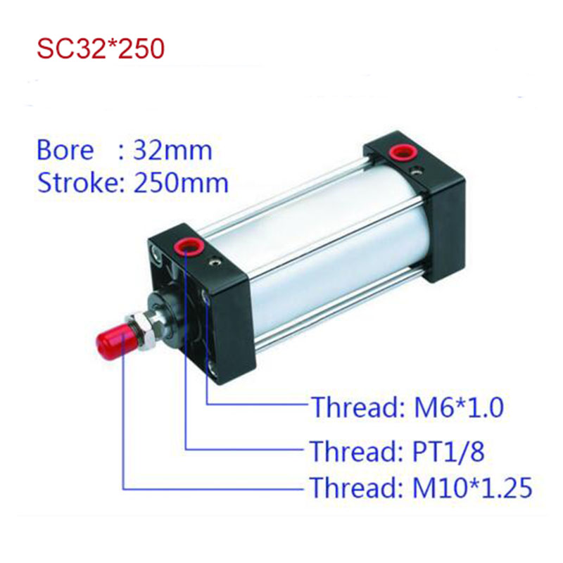 SC32*250 Free shipping Standard air cylinders valve 32mm bore 250mm stroke SC32-250 single rod double acting pneumatic cylinder<br>
