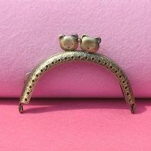 10pcs/lot  DIY 8.5cm Antique Bronze Cat Head Metal Purse Frame Handle for Bag Sewing Craft Tailor wholesale free shipping
