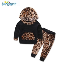 LONSANT Newborn Sport Suits Baby Boy Girls Clothes Leopard Newborn Infant Bebes Hooded Sweatshirt Tops Pants 2Pcs Dropshipping(China)
