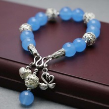 Accessory Crafts Parts Blue Chalcedony Beads Bracelet Double Pass Enamel Buckle Swan Pendant Stone Ladies Jewelry Making Fitting(China)
