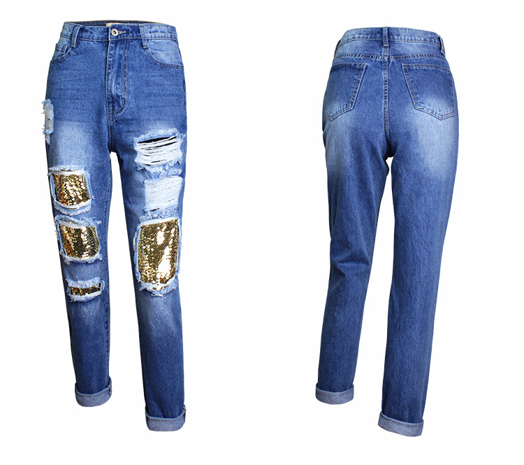 2018 Casual European Station Europe and the United States Style BF Wind Women Sequin Straight Hole Large jeans New Loose pants (11)