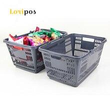 Пластик корзина Портативный супермаркет магазин корзина серый(China)