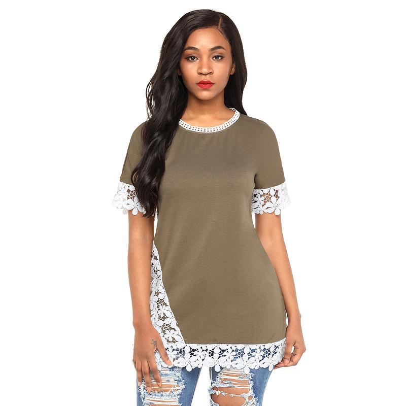Dreszdi Lace Trim T Shirt Women Short Sleeve Summer T-shirt Casual Tee Female Tshirt Tops black green (3)