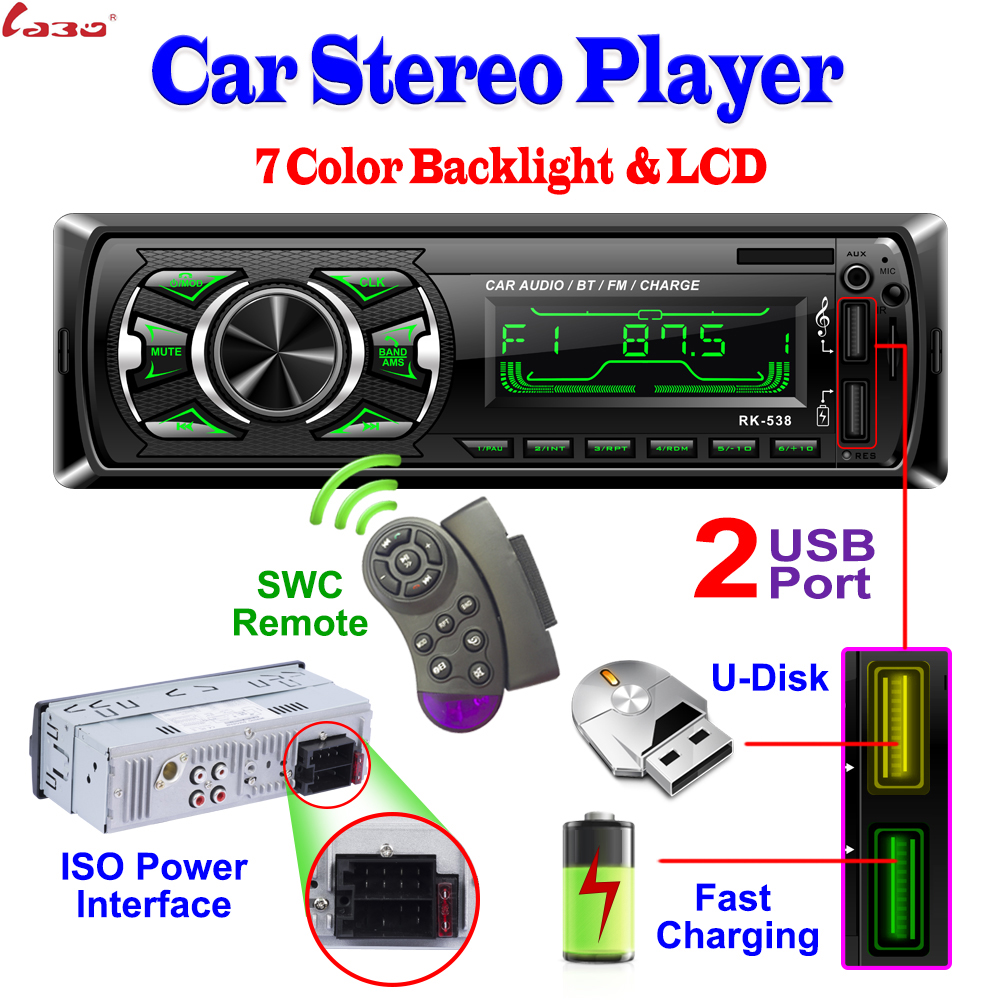 Labo Stereo-Player Car-Radio Bluetooth-Phone Auto Remote/remote-Control MP3 AUX-IN 12V title=