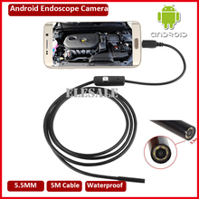 New 5.5mm 5M Cable Waterproof Endoscope Camera Module 6LED OTG USB Android Borescope Inspection Camera For Windows PC(Hong Kong)