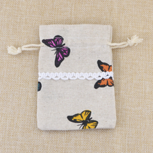 Wholesale 50pcs/lot 8.5*12cm Cotton Bags Butterfly Design Wedding Favors Drawstring Gift Bag Jewelry Charms Packaging Bags