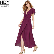 HDY Haoduoyi 2017 Sexy deep V-back chiffon gown with elegant and sexy fashionable lotus-leaf sleeve dress Evening Party Dress 49