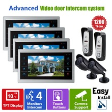 "Homefong Video Phone Door Camera Intercom Monitors System 10"" 4V2V2 CCTV Security Kit Door Entry Access Control Rainproof Metal"
