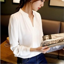 Buy Women Autumn Blouse Chiffon Femininas Solid Blusa V-neck Female Long Sleeve Office Shirt Casual Ladies Loose Tops Women Clothing for $10.39 in AliExpress store