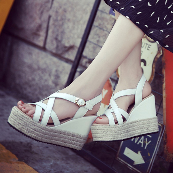 Leather High Heels Gladiator Women Sandals With Thick Bottom 2017 Summer Straw Rome Femme Shoes Black White Hot<br><br>Aliexpress