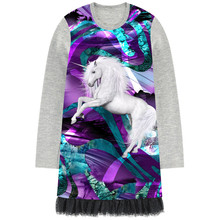 Girls Dresses The unicorn Print Children Designer Kids lace Clothes Girl clothing Fashion Kids Baby girl dress Long sleeve 2-12Y(China)