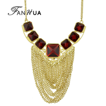 FANHUA Cheap Jewelry Maxi Colar Elegent Red Square Rhinestone Gold-Color Chain Tassel Necklace