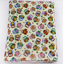 16944 50*147cm cartoon owl fabric patchwork printed Polyester cotton fabric for Tissue Kids Bedding home textile