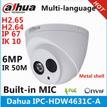 Dahua Ip-Camera Metal-Shell POE IPC-HDW4631C-A Replace MIC Ip67-Ik10 Ir-50m 6MP Built-In