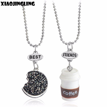 XIAOJINGLING 2Pcs/Set/Pack Best Friends Gifts Cute Coffee Cookie Pendant Necklaces Resin Bead Chain Length Necklace
