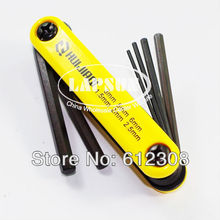 6-in-1 Portable Folding Hexagon Hex Key Allen Wrench Spanner ScrewDriver Set Kit tool 1.5mm 2mm 2.5mm 3mm 5mm 6mm 9609C