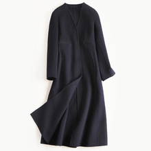 OYCP Europe 2017 Autumn Winter Women's Double-sided Wool Coat Female Long Design V-neck High Quality Navy Blue High Street Coats(China)