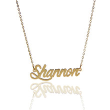 "AOLOSHOW Women Necklace Statement Name "" Shannon "" Nameplate Necklace Stainless Steel Gold color Pendant Lette Necklace NL-2398"