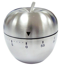Apple Pattern Mechanical New egg shaped Kitchen Timer Alarm Quality Count Down 60 Minutes Stainless Steel clock reminder &WL11