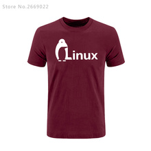 New Summer The Dark Knight LINUX penguin Logo T Shirt Men new Fashion short-sleeves Brand wordart of LINUX T-shirt
