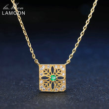 LAMOON 2mm 0.06ct 100% Natural Emerald Hollow Square 925 Sterling Silver Jewelry 14K Yellow Gold Plated Trendy Pendant Necklace