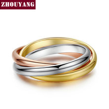 Top Quality ZYR030 Classical 3 Rounds 3 Color Color Ring Fashion Jewelry For Women Full Size Wholesale