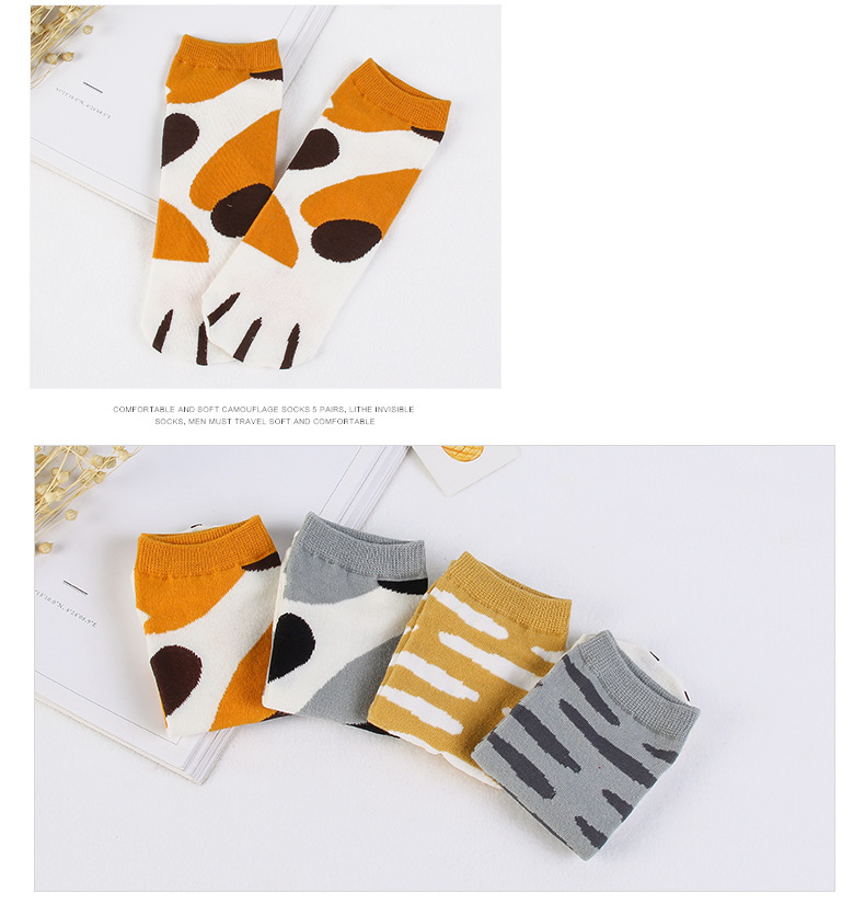 Novelty Summer Cat Paw Short Socks Kawaii Japanese Cotton Socks for Women Comfortable Animal Pattern Crew Socks 4 Pairs/Lot