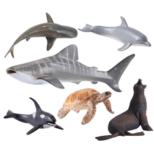Ocean Animal Model Solid Emulation Shark Whale Action Figure Dolphin Christmas Learning Educational Kids Toys for Boys Children(China)