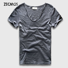 Men Basic T-Shirt Solid Cotton V Neck Slim Fit Male Fashion T Shirts Short Sleeve Top Tees 2017 Brand(China)