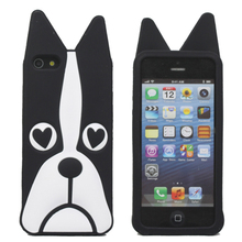 Soft Silicone Rubber Gel 3D Animal Cartoon Peach Eye Dog Pet Design Black Back Protective Case Cover Skin For Apple iPhone 5 5S(China)