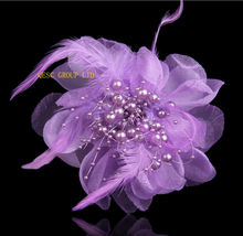Purple 13cm organza Flower sinamay fascinator with pearls beads&feathers DIY hand-made flower Corsage Dress clothes bag wedding