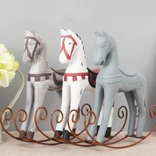 Creative Retro Wooden Rocking Horse Ornaments Animal Gift Vintage Study Store Home Decor Statuette Wood Crafts