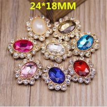 24*18mm Oval Metal Rhinestone Embellishment Button Flat Back for Bows,Headband/Assorted Colors in Silver Base