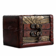 Stylish Vintage Metal Lock Jewelry Treasure Chest Case Manual Wood Box storage box Vintage Flower storage jewelry box-P101(China)