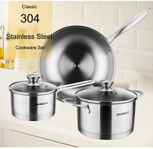 6-Piece Classic 304 Stainless Steel Cookware Set,32cm woks,16cm milk pot sauce pan,20cm stock pot ,with Tempered glass lids(China)