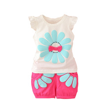 BibiCola Infant clothes toddler children summer baby girls clothing sets casual 2pcs flower clothes sets girls summer set(China)