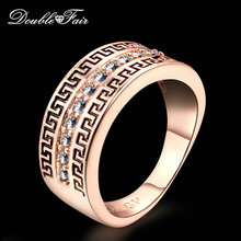 Double Fair AAA+ Cubic Zirconia Retro Rings Silver/Rose Gold Color Engagement/Wedding Jewelry For men and Women Wholesale DFR340