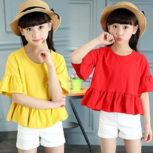 Children Clothes Girl Summer T-shirt Korean style  horn sleeve  round collar half sleeve T-shirt FL