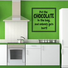 DCTOP Put The Chocolate In The Bag Black Printed Decorative Kitchen Wall Stickers Living Room Home Decor Decal