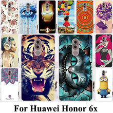 Phone Cases For Huawei Honor 6x 2016 GR5 2017 Covers BLN-AL10 Honor Play 6X Honor6X Mate 9 Lite Soft TPU Hard PC Cat Tiger Bags