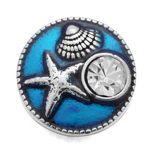 10pcs/lot Blue 18MM Snap Button Jewelry Crystal Starfish Seashells Snap Buttons Fit Snap Bracelet Bangle for Women Accessory(China)