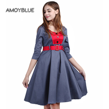 Amoyblue Women Vintage Day Dresses with Sleeves Stitching 2017 Ladies Retro Party Dress Audrey Hepburn Plus Size High Quality