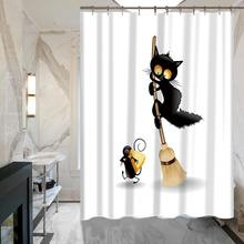 Black Cat Cartoon 3D Childrens Shower Curtain Waterproof Polyester Fabric Home Decorative Bathing Curtains 12 Hooks